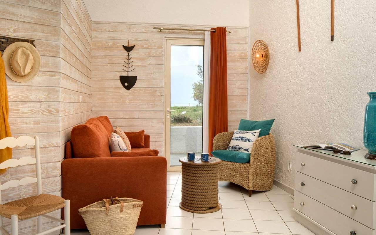 Living room, hotel La Cotinière, Ile de Lumière