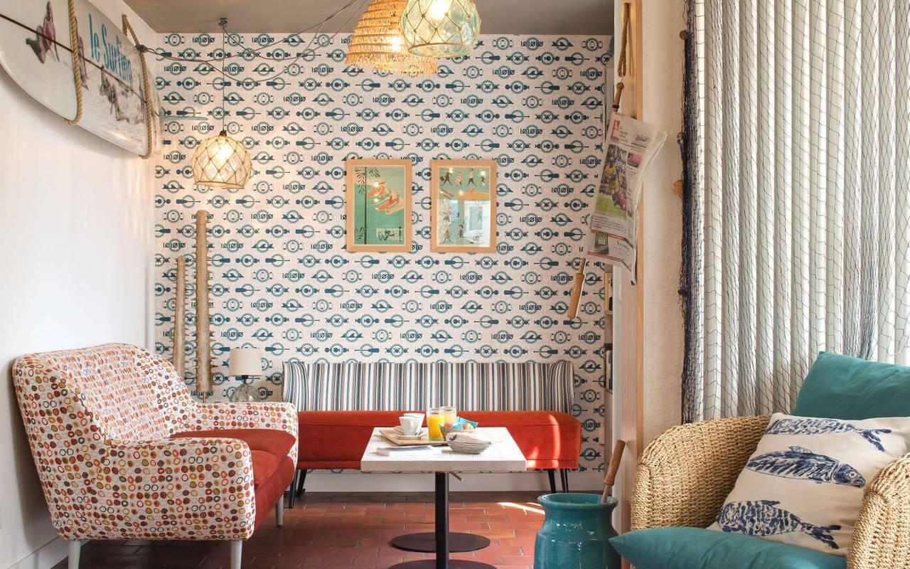 Decorated living room, boutique hotel Ile d'Oléron, Ile de Lumière