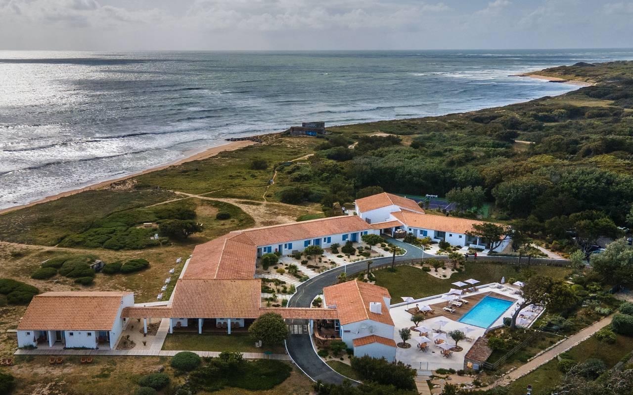 Establishment seen from drone, hotel Ile d'Oléron, Ile de Lumière