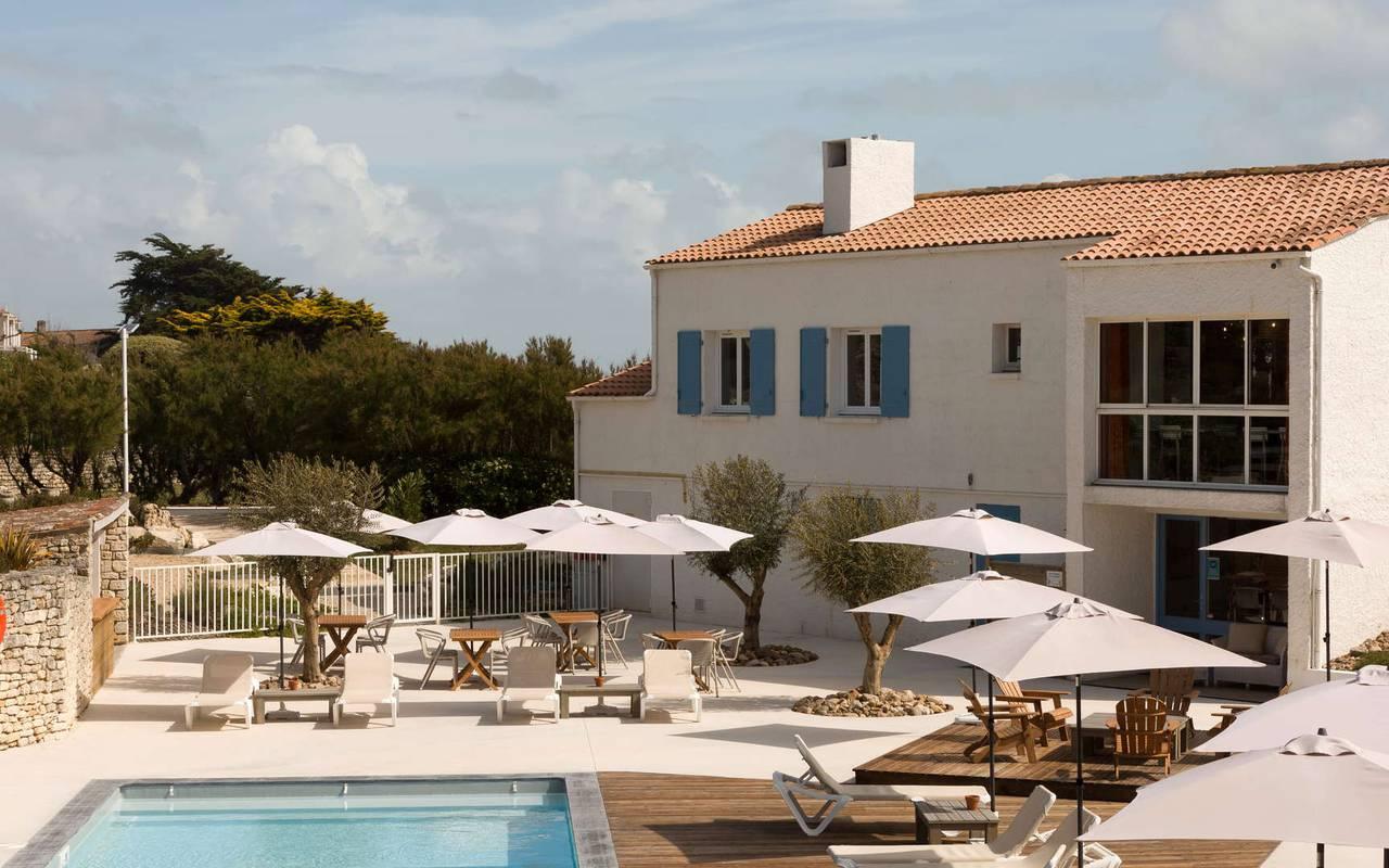 Pool area, hotel Ile d'Oléron, Ile de Lumière